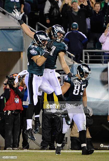 Riley Cooper of the Philadelphia Eagles celebrates with Zach Ertz after scoring a touchdown against the Chicago Bears during the first quater at...