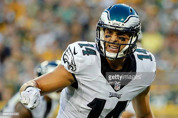 Riley Cooper of the Philadelphia Eagles checks his position on the line during a preseason game against the Green Bay Packers at Lambeau Field on...