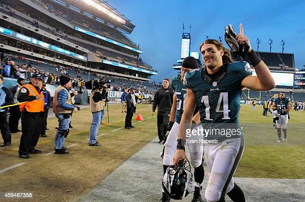 Riley Cooper of the Philadelphia Eagles leaves the field after their 4324 over the Tennessee Titans at Lincoln Financial Field on November 23 2014 in...
