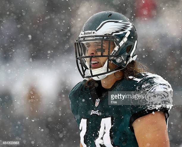 Riley Cooper of the Philadelphia Eagles looks on in between plays in the third quarter against the Detroit Lions on December 8 2013 at Lincoln...