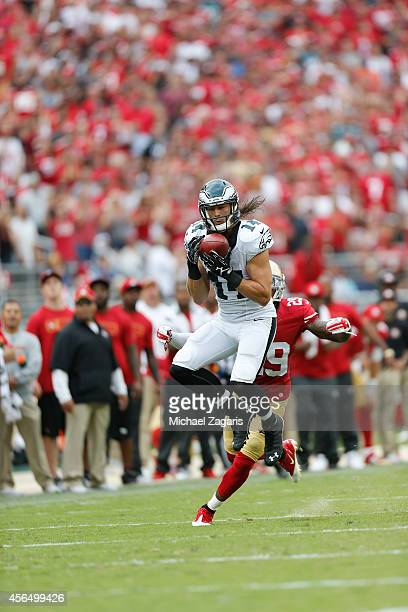 Riley Cooper of the Philadelphia Eagles makes a reception during the game against the San Francisco 49ers at Levi Stadium on September 28 2014 in...