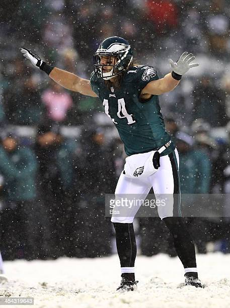 Riley Cooper of the Philadelphia Eagles tries to quiet the crowd as he readies for the snap in the fourth quarter against the Detroit Lions on...