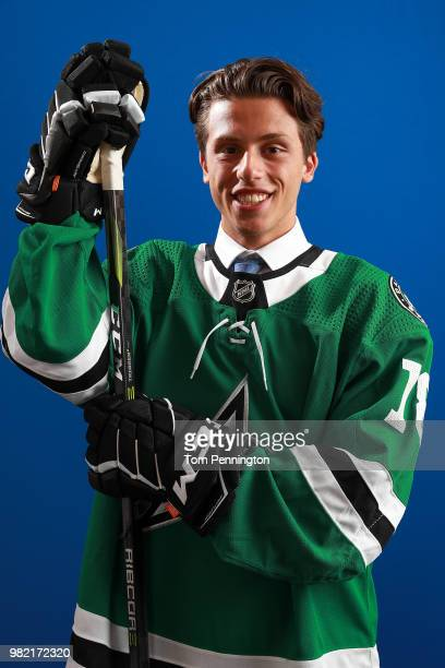 Riley Damiani poses after being selected 137th overall by the Dallas Stars during the 2018 NHL Draft at American Airlines Center on June 23 2018 in...