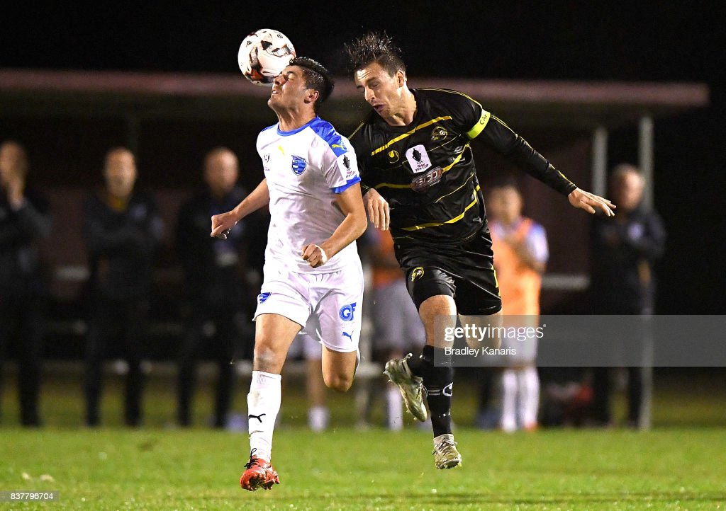 Riley Dillon of Gold Coast City in action during the FFA Cup round of 16 match between Moreton Bay United and Gold Coast City at Wolter Park on August 23, 2017 in Brisbane, Australia.