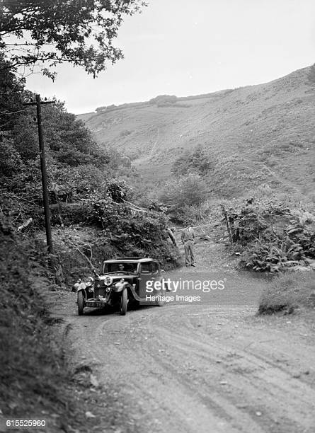 Riley Falcon saloon taking part in a motoring trial in Devon late 1930s Riley Falcon saloon 1934 1089 cc Vehicle Reg No ACE768 Event Entry No 26...