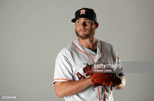 Riley Ferrell of the Houston Astros poses for a portrait at The Ballpark of the Palm Beaches on February 21 2018 in West Palm Beach Florida
