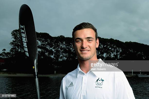 Riley Fitzsimmons poses during the Australian Canoe/KayakSprint 2016 Olympic Games Team Announcement at Mermaid Beach on March 16 2016 on the Gold...