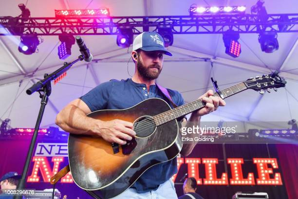 Riley Green performs at Michigan International Speedway on July 21 2018 in Brooklyn Michigan