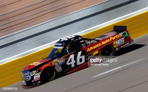 Riley Herbst driver of Advancesd Auto Parts Toyota drives during practice for the NASCAR Camping World Truck Series World of Wesgate 200 on September...