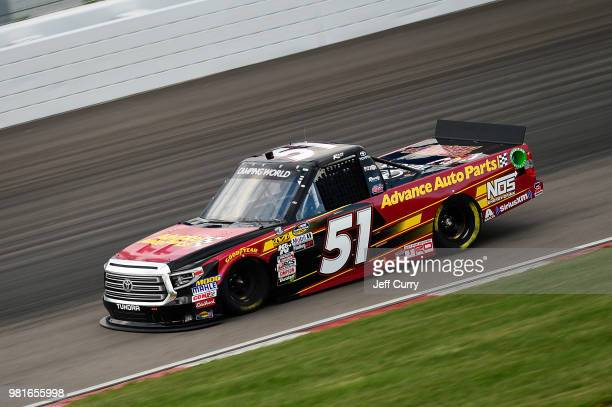 Riley Herbst driver of the Advance Auto Parts Toyota drives during practice for the NASCAR Camping World Truck Series Villa Lighting delivers the...