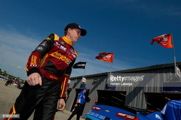 Riley Herbst driver of the Advance Auto Parts Toyota during practice for the NASCAR Xfinity Series Iowa 250 presented by Enogen at Iowa Speedway on...