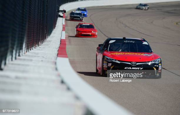 Riley Herbst driver of the Advance Auto Parts Toyota leads a pack of cars during the NASCAR Xfinity Series Iowa 250 presented by Enogen at Iowa...