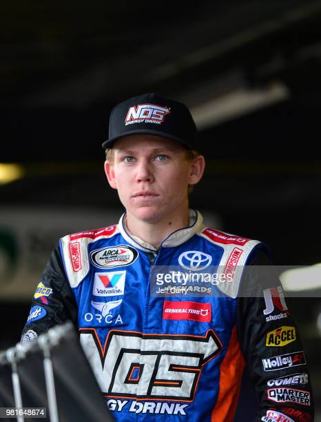Riley Herbst driver of the Advance Auto Parts Toyota looks on during practice for the NASCAR Camping World Truck Series Villa Lighting delivers the...
