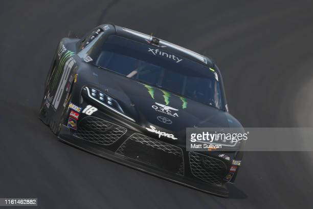 Riley Herbst driver of the Monster Energy Toyota drives during practice for the NASCAR Xfinity Series Alsco 300 at Kentucky Speedway on July 11 2019...