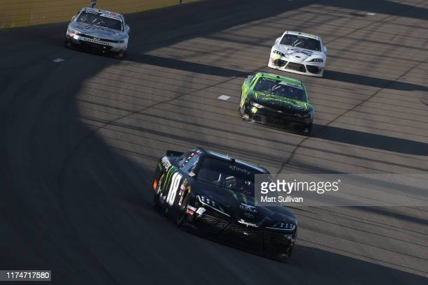 Riley Herbst driver of the Monster Energy Toyota races during the NASCAR Xfinity Series Rhino Pro Trucks Outfitters 300 at Las Vegas Motor Speedway...