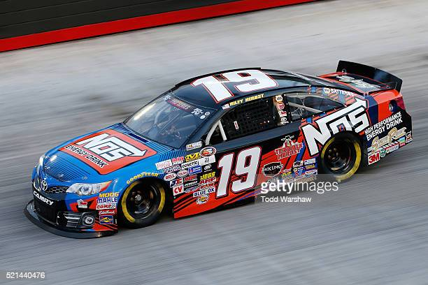 Riley Herbst driver of the NOS Energy Drink Toyota races during qualifying for the NASCAR KN Pro Series East PittLite 125 at Bristol Motor Speedway...