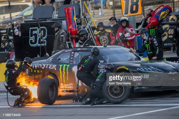 Riley Herbst Joe Gibbs Racing Toyota Supra comes to pit road during the NASCAR Xfinity Series Rhino Pro Truck Outfitters 300 at Las Vegas Motor...