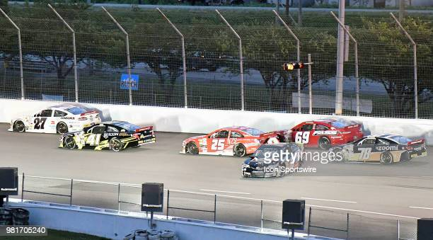 Riley Herbst of Las Vegas NV driving a Toyota for NOSORCA Coolers and Advance Auto Parts loses control on the first lap in the back stretch during...