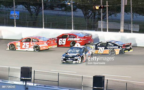 Riley Herbst of Las Vegas NV driving a Toyota for NOSORCA Coolers and Advance Auto Parts loses control on the backstretch on the first lap during the...