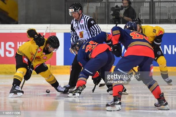 Riley Holzapfel of Vienna and Michael Haga of Stockholm face off during the Champions Hockey League match between Vienna Capitals and Djurgarden...