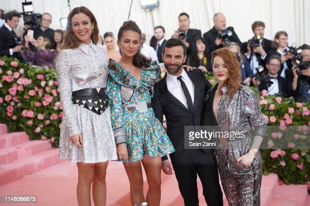 Riley Keough Alicia Vikander Emma Stone and Nicolas Ghesquiere attend The Metropolitan Museum Of Art's 2019 Costume Institute Benefit Camp Notes On...