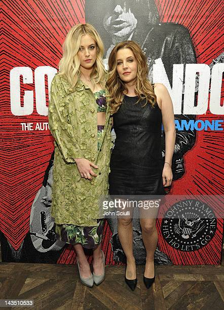 Riley Keough and Lisa Marie Presley attend Commando The Autobiography of Johnny Ramone launch party hosted by Linda Ramone on April 27 2012 in West...