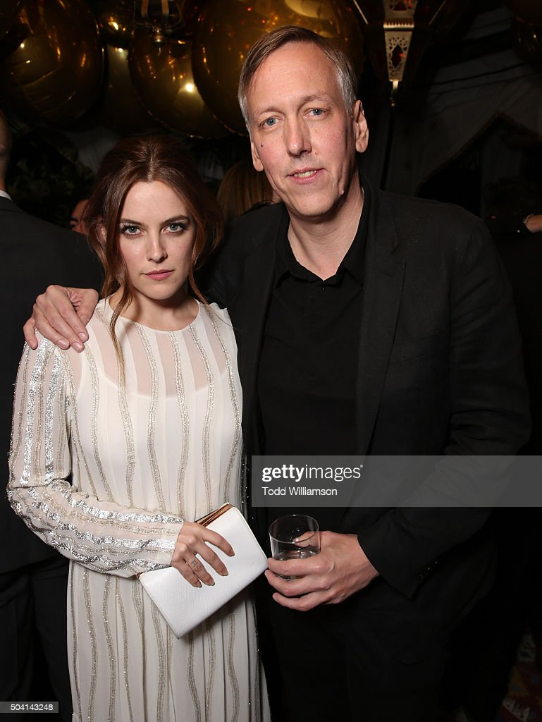 Riley Keough and Lodge Kerrigan attend the Starz Pre-Golden Globe Celebration at Chateau Marmont on January 8, 2016 in Los Angeles, California.