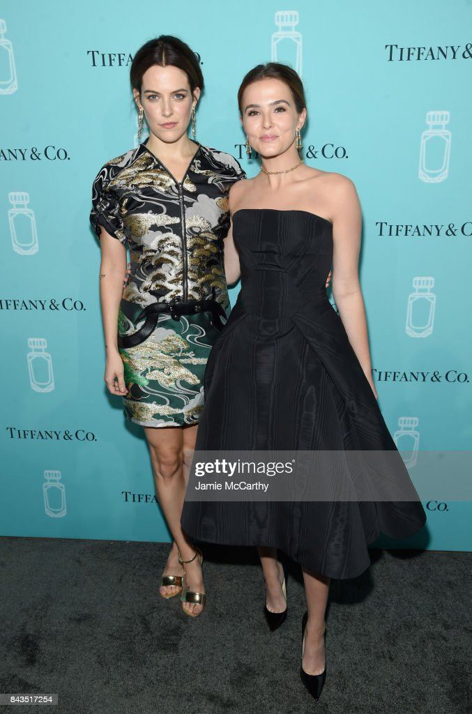 Riley Keough and Zoey Deutch attend the Tiffany & Co. Fragrance launch event on September 6, 2017 in New York City.