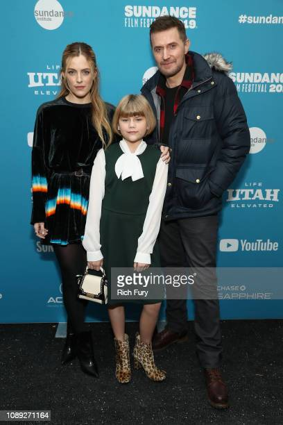 """Riley Keough, Lia McHugh, and Richard Armitage attend the """"The Lodge"""" Premiere during the 2019 Sundance Film Festival at Library Center Theater on..."""