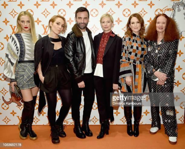 Riley Keough Noomi Rapace Nicolas Ghesquiere Michelle Williams Julianne Moore and Grace Coddington attend the Louis Vuitton X Grace Coddington Event...