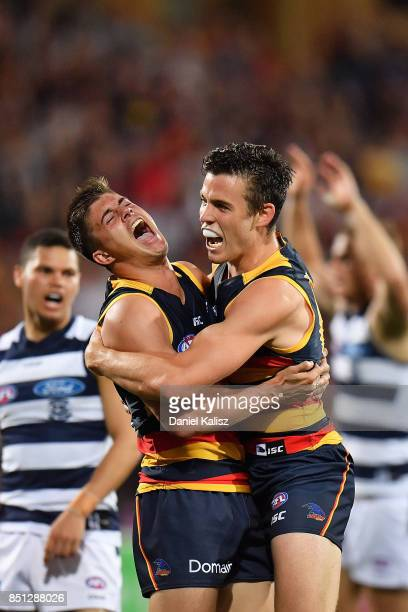 Riley Knight and Paul Seedsman of the Crows celebrate during the First AFL Preliminary Final match between the Adelaide Crows and the Geelong Cats at...