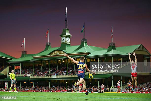 Riley Knight of the Crows kicks at goal during the round 18 AFL match between the Sydney Swans and the Adelaide Crows at Sydney Cricket Ground on...