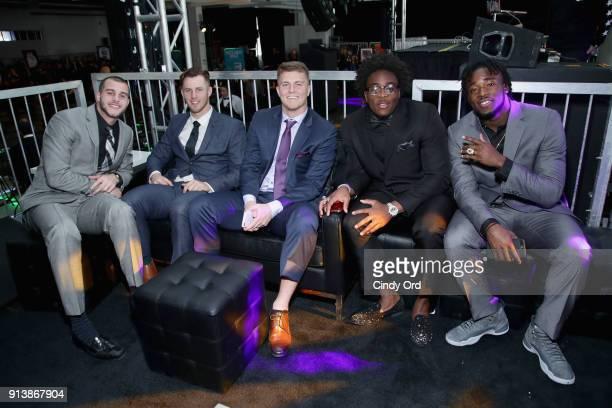 Riley L Ferguson Nic Shimonek Chase Litton Alvin Jones and Ronald Jones II attend Leigh Steinberg Super Bowl Party 2018 on February 3 2018 in...