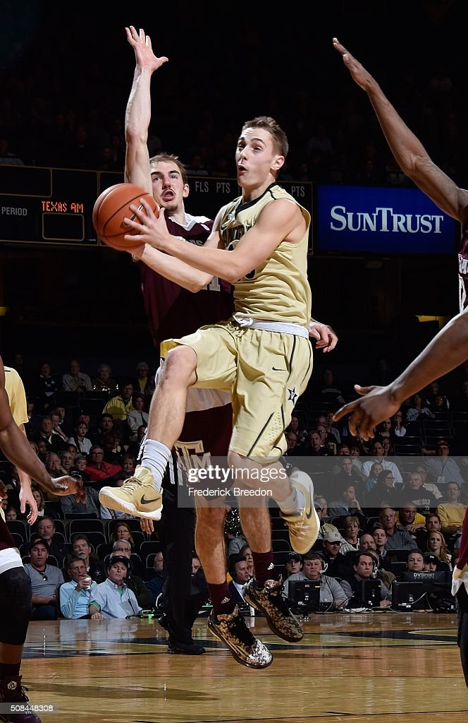 Riley Lachance #13 of the Vanderbilt Commodores jumps up to take a shot during the second half of a 77-60 Vanderbilt upset of Texas A&M at Memorial Gym on February 4, 2016 in Nashville, Tennessee.