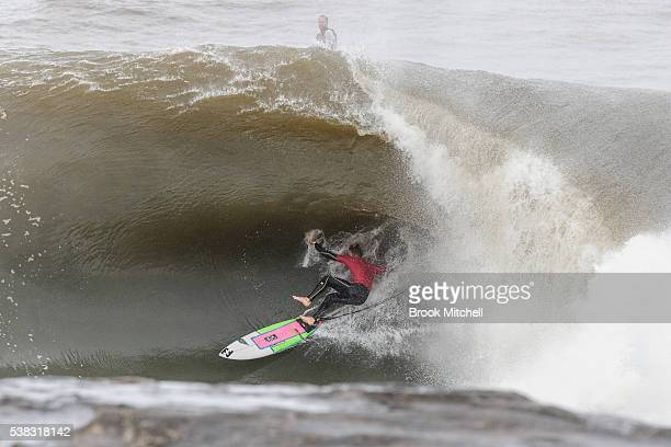 Riley Lang wipes out during Cape Fear on June 6 2016 in Sydney Australia