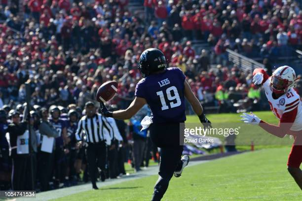 Riley Lees of the Northwestern Wildcats tries to catch a pass against the Nebraska Cornhuskers during the first half on October 13 2018 at Ryan Field...