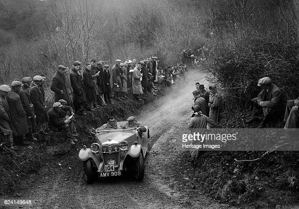 Riley Lynx open 4seater of VNG Seeney competing in the MCC Lands End Trial 1935 Artist Bill BrunellRiley Lynx open 4seater 1934 1089 cc Vehicle Reg...
