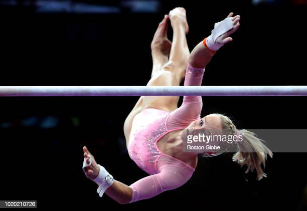 Riley McCusker competes on the uneven parallel bars during the US senior women's final round of competition at the US Gymnastics Championships at TD...