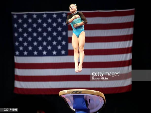 Riley McCusker competes on the vault during the US senior women's competition at the US Gymnastics Championships at TD Garden in Boston on Aug 17 2018
