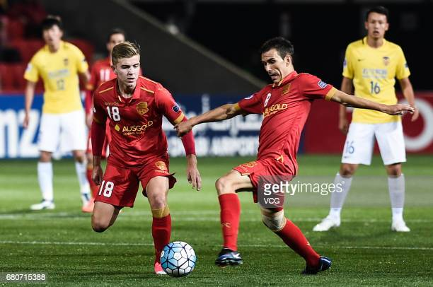Riley McGree of Adelaide United follows the ball during 2017 AFC Champions League group match H between Adelaide United and Jiangsu Suning at...