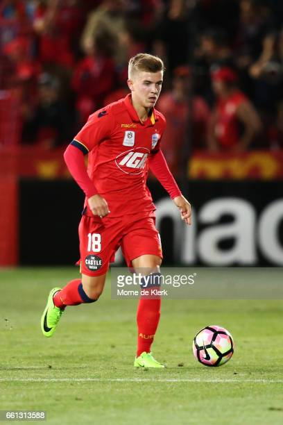 Riley McGree of Adelaide United runs with the ball during the round 25 ALeague match between Adelaide United and Perth Glory at Coopers Stadium on...