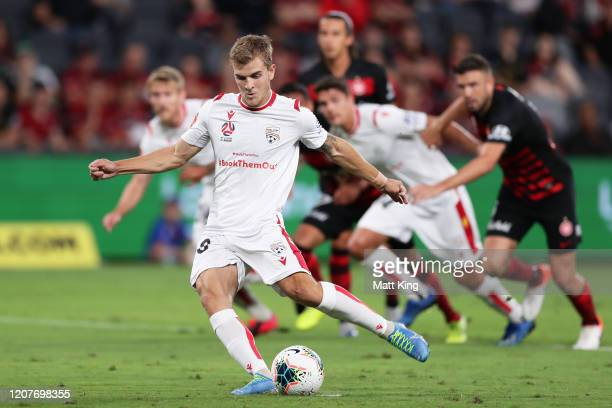 Riley Mcgree of Adelaide United scores a goal from a penalty during the round 20 A-League match between the Western Sydney Wanderers and Adelaide...