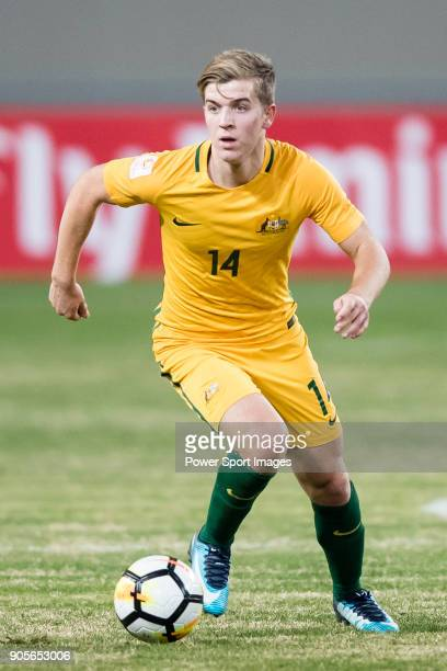 Riley McGree of Australia in action during the AFC U23 Championship China 2018 Group D match between Vietnam and Australia at Kunshan Sports Center...