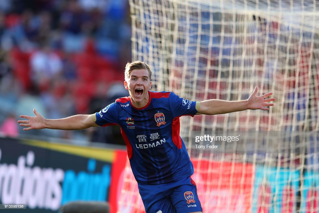 Riley McGree of the Jets celebrates a goal during the round 19 A-League match between the Newcastle Jets and the Melbourne Victory at McDonald Jones Stadium on February 3, 2018 in Newcastle, Australia.
