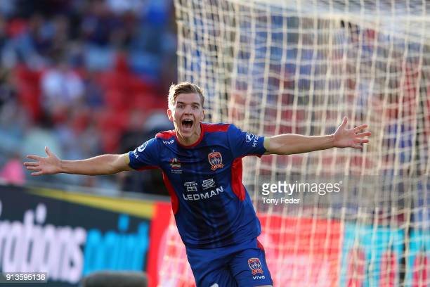 Riley McGree of the Jets celebrates a goal during the round 19 ALeague match between the Newcastle Jets and the Melbourne Victory at McDonald Jones...
