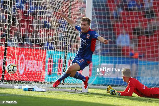 Riley McGree of the Jets celebrates a goal during the round 19 A-League match between the Newcastle Jets and the Melbourne Victory at McDonald Jones...