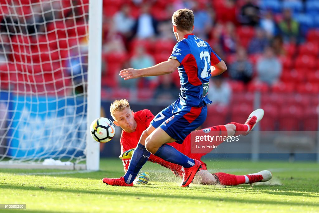 Riley McGree of the Jets scores a goal during the round 19 A-League match between the Newcastle Jets and the Melbourne Victory at McDonald Jones Stadium on February 3, 2018 in Newcastle, Australia.