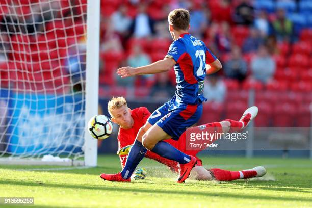 Riley McGree of the Jets scores a goal during the round 19 A-League match between the Newcastle Jets and the Melbourne Victory at McDonald Jones...