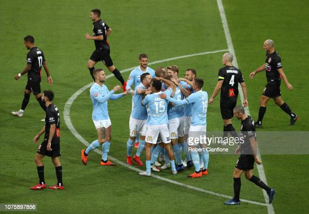 Riley McGree of the Melbourne City celebrates after scoring a goal during the round six ALeague match between Melbourne City and the Newcastle Jets...