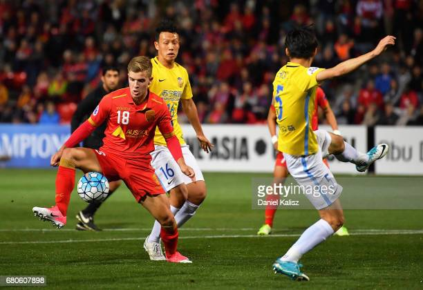 Riley McGree of United controls the ball during the AFC Champions League match between Adelaide United and Jiangsu Sainty at Hindmarsh Stadium on May...